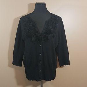 Cyrus Black Caridgan Sweater Satin Floral Detail